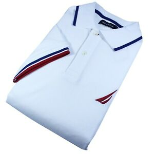 Nautica Polo Mens White Main Red And Blue Stripes Select Your Size NWT $24.99