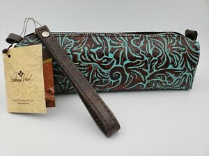 Patricia Nash Isla Oblong Italian Leather Wristlet Tooled Turquoise New w Tag