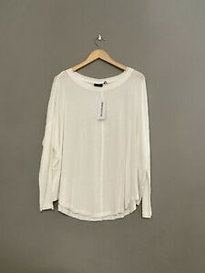 Out From Under Large White Oversized Semi Sheer Top Long Sleeve NWT $19.00
