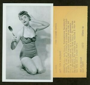 SEXY ORIGINAL ACME NEWSPICTURES PHOTO CALENDAR GIRL SWIMSUIT PIN UP VF c1950