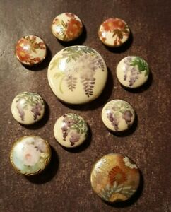 Set 10 Vintage SATSUMA JAPAN Ceramic Buttons Handpainted Leaves c1940s