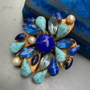 Vintage Signed Original by Roberts Gold Plated Turquoise Glass Pin Brooch $149.00