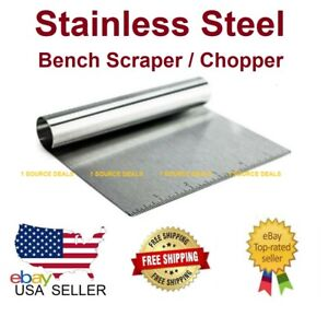 Stainless Steel Bench Scraper Chopper With Ruler Must Have In Your Kitchen NEW $5.79