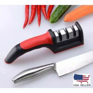 *KNIFE SHARPENER PROFESSIONAL CHEF GRADE SYSTEM Tool Ceramic Tungsten 3 Stage *