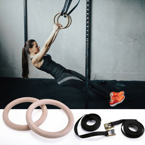 1.3quot; Wooden Gymnastic Rings Set Exercise Crossfit Gym Strength Training Pull ups $21.49