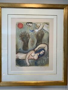 MARC CHAGALL LITHOGRAPH HAND SIGNED Boaz Wakes and Sees Ruth at His Feet $8000.00