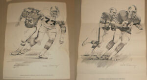 2 1981 Miami Dolphins Shell Oil Football Prints by Nick Galloway Bob Baumhower E $12.50