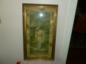 Beautiful Antique Yard Long Style Picture Print Of Victorian Lady In Rose Garden $125.00