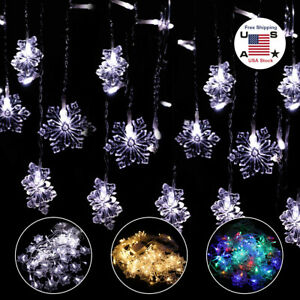 Christmas LED Curtain Snowflake Fairy String Lights Window Outdoor Xmas Party US $13.15