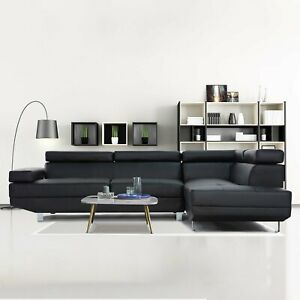 2 Piece Modern Contemporary Black Faux Leather Sectional Sofa with Chrome Legs $699.99