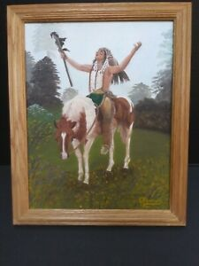 Oil Painting Native American Indian on Horse praising the Heavens Signed 1998 $49.00