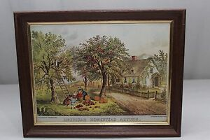 Vintage Currier Ives Lithograph AMERICAN HOMESTEAD AUTUMN $17.00