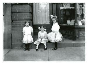 Girls in White Dresses 8x10 Photograph from Antique 1900 Glass Negative Fashion