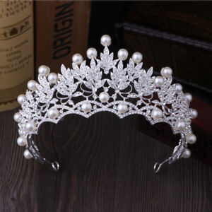 Crystal Tiara Bridal Wedding Pearl Pageants Hair Crown Bride Headband Rhinestone $12.75