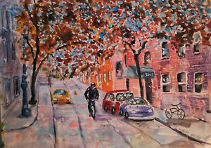 Original watercolor urban scene downtown NYC 10quot; by 14quot; $50.00