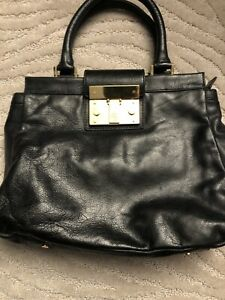 New Tory Burch Black Leather Satchell Bag Cream Color Inside Adjustable Strap
