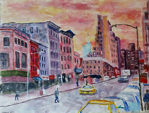 Original watercolor Cityscape urban NYC 11quot; by 15quot; $55.00