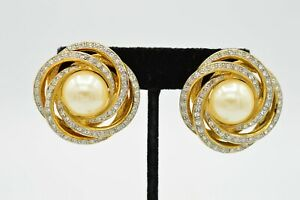 Les Bernard Signed Vintage Earrings Statement Clip Rhinestone Faux Pearl BinU $56.62