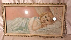 Antique framed victorian lithograph 9 1 2 x 17 1 2 holds 8x16 molding 1quot; $55.00