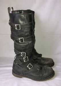 Dr Martens Phine The Walking Dead Womens 10 Boots Tall Buckle Leather Gray Black