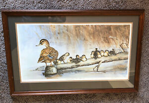 """Babysitting The Brood"" Lithograph Signed By Becky Kruger Cyr Matted amp; Framed $99.00"