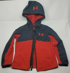 UNDER ARMOUR UA BOYS ARMOUR FLEECE FULL ZIP HOODIE JACKET XS BLACK RED USED $15.00