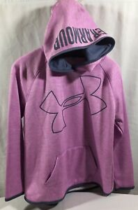 Girls Under Armour Hoodie Pink Gray Youth XL Loose Cold Gear $16.99