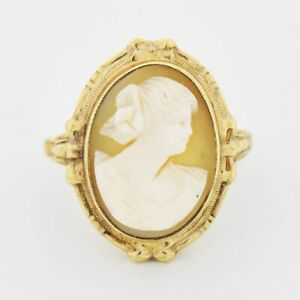 10k Yellow Gold Vintage Carved Cameo Ring Size 6.25 $176.24