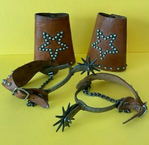 Pair of Antique Spanish Colonial Mexican Spurs and Leather Cuffs Youth Size