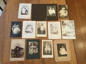 Lot of 12 Antique Photographs Baby Toddler Cabinet? 4 Postcards $11.99