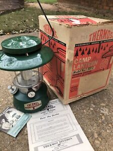 Vintage Thermos Camp Lantern Model 8312 Green w Original Box Looks unused $129.00