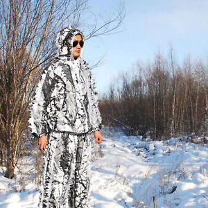 Outdoor Camo Ghillie Suits 3D Leaves Woodland Snow Wild Camouflage Clothing Army