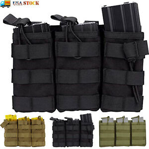 Tactical Molle Triple Magazine Pouch Nylon Open Top 5.56 .223 Rifle Mag Holder $13.29