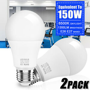 2x Super Bright LED Bulb 150W Equivalent A19 6500K 1350lm Cool Daylight White