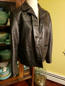 Vintage Tannery West Leather Jacket Sz m black 1980's motorcycle $24.00