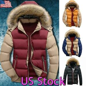 US Mens Winter Warm Fur Hooded Parka Coat Padded Zip Puffer Jacket Thick Outwear $46.39