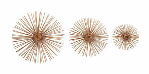 Zimlay Contemporary Iron Wire Starburst Set Of 3 Wall Sculptures 50373 $48.33