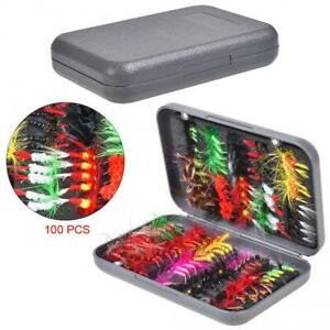 100pcs Flies Beaded Fly Fishing Dry Flies Bead head Bass Trout Lures Hook amp; Box $19.47