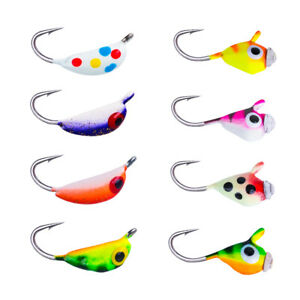 Goture 8pcs box Tungsten Jig Ice Lures Glow Hard Bait Hook Winter Fishing Tackle
