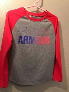 Girls grey and pink Under Armour shirt. sz 6 $5.00