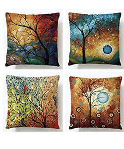 18 x 18quot; Tree Home Cover Cotton Linen Pillowcase Soft Pillow Cushion Cover $17.99