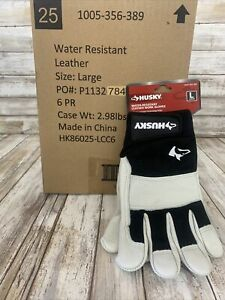 Husky Large L Water Resistant Leather Work Glove 6 In Box Total.
