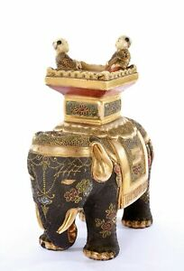 Japanese Moriage Satsuma Earthenware Boy Ride Elephant Figurine Figure Okimono