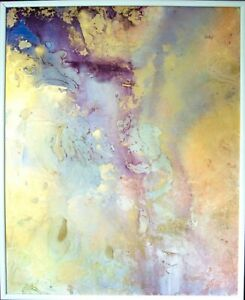 Original painting quot;Sunny Dayquot; Fluid art Abstraction Gold Large Wall contemporary $370.00