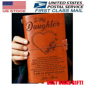 To My Daughter From Mom Engraved Leather Journal Notebook Diary Xmas Gift US