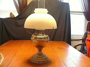Antique Bamp;H Bradley amp; Hubbard Nickel Chrome Victorian Oil Lamp With Opal Shade $65.00