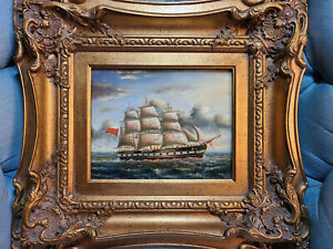 Antique Oil On Board Ship Painting in Gold Gesso Wood Frame 19quot;x17quot; Signed Tony. $195.77