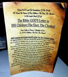 The Bible: GODs Letter to HIS Children the Elect the Chosen $7.00