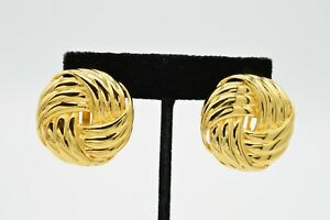 Les Bernard Signed True Vintage Statement Clip On Earrings Gold Chunky Round 80s $28.12