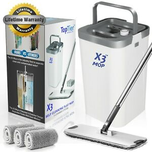 X3 Flat Floor Mop and Bucket Set for Hands Free Home Floor Cleaning 3 Pads